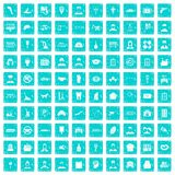 100 favorite work icons set grunge blue. 100 favorite work icons set in grunge style blue color isolated on white background vector illustration royalty free illustration