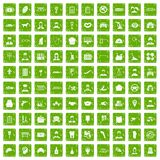 100 favorite work icons set grunge green. 100 favorite work icons set in grunge style green color isolated on white background vector illustration Stock Photography