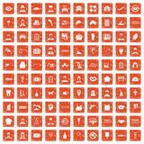 100 favorite work icons set grunge orange. 100 favorite work icons set in grunge style orange color isolated on white background vector illustration Stock Photography