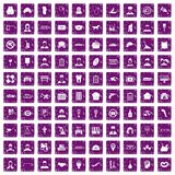 100 favorite work icons set grunge purple. 100 favorite work icons set in grunge style purple color isolated on white background vector illustration vector illustration