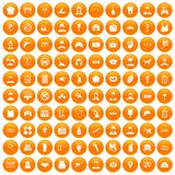 100 favorite work icons set orange Royalty Free Stock Photo