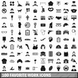 100 favorite work icons set, simple style. 100 favorite work icons set in simple style for any design vector illustration royalty free illustration