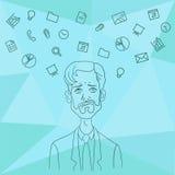 Favoriten programmerar och bearbetar chefprojekt, affärsanalytiker Arkivbild