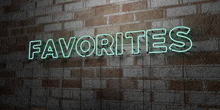 FAVORITES - Glowing Neon Sign on stonework wall - 3D rendered royalty free stock illustration Royalty Free Stock Photography