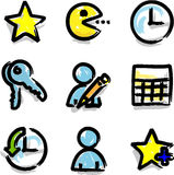 Favoritos do contorno da cor do marcador dos ícones do Web do vetor Foto de Stock