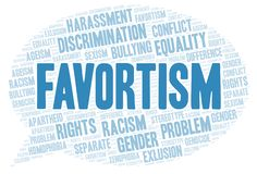 Favortism - type of discrimination - word cloud. Wordcloud made with text only stock illustration