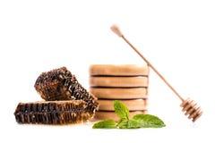 Favos de mel e dipper de madeira do mel Imagens de Stock Royalty Free