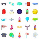 Favourable wind icons set, cartoon style. Favourable wind icons set. Cartoon set of 25 favourable wind icons for web isolated on white background Royalty Free Stock Photos