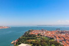 Lots of little houses in Lisbon, capital of Portugal. Favourite that beautiful wallpaper the sea in Lisbon, Portugal stock images