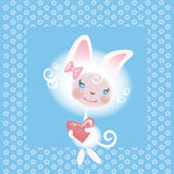 Favourite cat the girl 2 Royalty Free Stock Image
