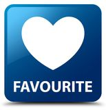 Favourite (heart icon) blue square button. Favourite (heart icon) isolated on blue square button abstract illustration Stock Photo