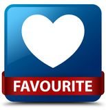 Favourite (heart icon) blue square button red ribbon in middle. Favourite (heart icon) isolated on blue square button with red ribbon in middle abstract Stock Photo