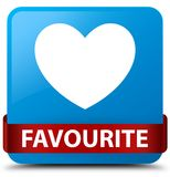 Favourite (heart icon) cyan blue square button red ribbon in mid. Favourite (heart icon) isolated on cyan blue square button with red ribbon in middle abstract Stock Photography