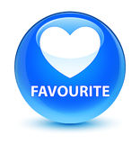 Favourite (heart icon) glassy cyan blue round button Royalty Free Stock Photos