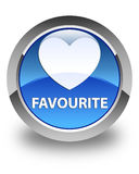 Favourite (heart icon) glossy blue round button Stock Photography