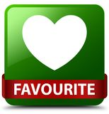 Favourite (heart icon) green square button red ribbon in middle. Favourite (heart icon)  on green square button with red ribbon in middle abstract illustration Stock Photography