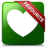 Favourite heart icon green square button Stock Photography