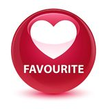 Favourite (heart icon) glassy pink round button Stock Photography