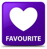 Favourite (heart icon) purple square button. Favourite (heart icon) isolated on purple square button abstract illustration Royalty Free Stock Photos