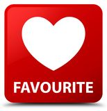 Favourite (heart icon) red square button Royalty Free Stock Photo