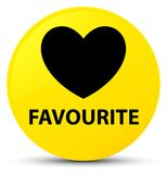 Favourite (heart icon) yellow round button. Favourite (heart icon) isolated on yellow round button abstract illustration Stock Images