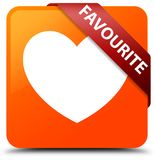 Favourite (heart icon) orange square button red ribbon in corner. Favourite (heart icon) isolated on orange square button with red ribbon in corner abstract Royalty Free Stock Photos
