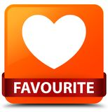 Favourite (heart icon) orange square button red ribbon in middle Royalty Free Stock Images