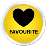 Favourite (heart icon) premium yellow round button. Favourite (heart icon) isolated on premium yellow round button abstract illustration Stock Images