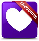 Favourite (heart icon) purple square button red ribbon in corner. Favourite (heart icon) isolated on purple square button with red ribbon in corner abstract Stock Image