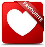 Favourite (heart icon) red square button red ribbon in corner. Favourite (heart icon)  on red square button with red ribbon in corner abstract illustration Royalty Free Stock Photo