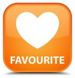 Favourite (heart icon) special orange square button. Favourite (heart icon) isolated on special orange square button abstract illustration Royalty Free Stock Photography