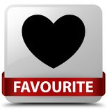 Favourite (heart icon) white square button red ribbon in middle. Favourite (heart icon) isolated on white square button with red ribbon in middle abstract Stock Photos