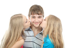 Favourite man. Portrait of a funny man with his girlfriends Stock Photo