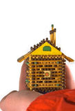 Favourite small house. Small house from matches carefully hold in a hand Stock Image