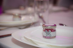 Favours. Purple and silver themed wedding favours Royalty Free Stock Images