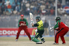 Fawad Alam. Pakistani Player Fawad Alam plays a shot against Zimbabwe in the fifth ODI in Sheikupura Royalty Free Stock Images