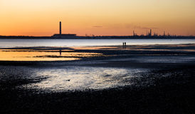 Fawley Oil Refinery. At dusk - Taken from Hillhead,Fareham royalty free stock photo