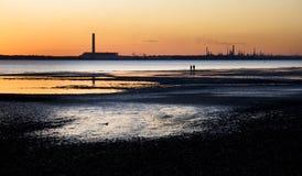 Fawley Oil Refinery. At dusk - Taken from Hillhead,Fareham Royalty Free Stock Photo