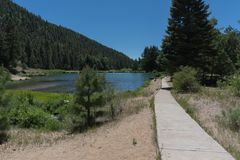 Fawn湖路在新墨西哥 库存照片