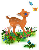 Fawn. Looks at two butterflies flying Royalty Free Stock Images