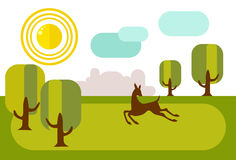 Fawn running on sunny meadow. In the distance is the city`s skyl. Ine. Beautiful illustration in flat style Royalty Free Stock Photos