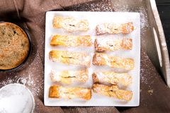 Faworki - Traditional Polish cookies served at Fat Thursday. Angel wings cookies Royalty Free Stock Photos