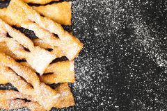 Faworki - Traditional Polish cookies served at Fat Thursday. Angel wings cookies Stock Images