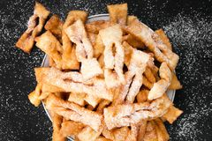 Faworki - Traditional Polish cookies served at Fat Thursday. Angel wings cookies Stock Photos