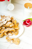Faworki - Traditional Polish cookies served at Fat Thursday. Royalty Free Stock Photo