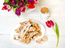 Faworki - Traditional Polish cookies served at Fat Thursday. Stock Photo