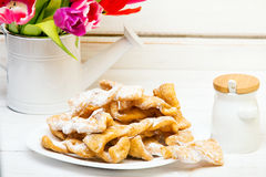 Faworki - Traditional Polish cookies served at Fat Thursday. Royalty Free Stock Photography