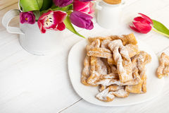 Faworki - Traditional Polish cookies served at Fat Thursday. Stock Photography