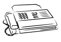 Fax. Hand drawing fax machine with white background Royalty Free Stock Photos
