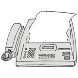 Fax. Art illustration: a fax machine Royalty Free Stock Image